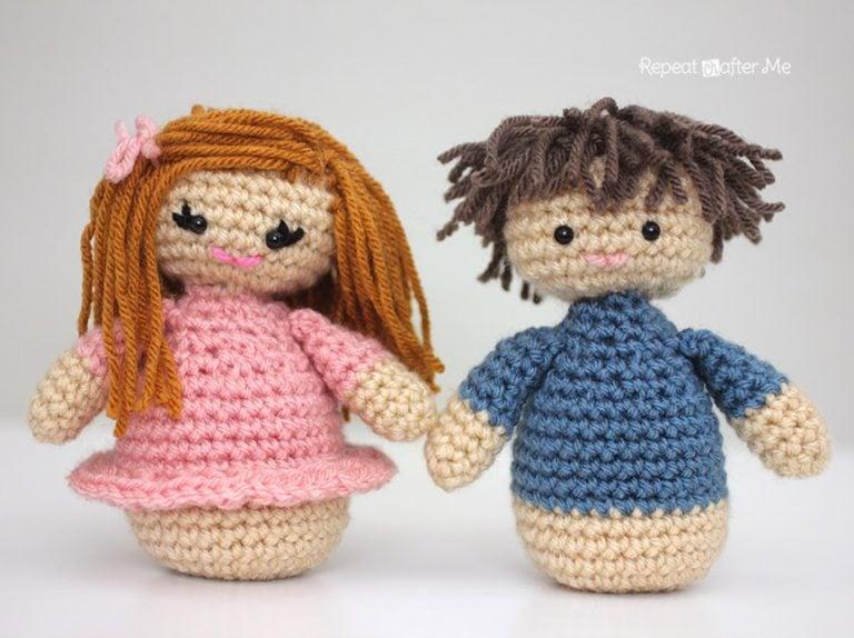 Amigurumi Hair Boy : Girl and Boy Amigurumi Dolls ~ FREE Crochet Pattern