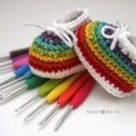 Crochet Rainbow Baby Booties ~ Repeat Crafter Me