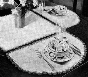 Half Moon Luncheon Set ~ Free Vintage Crochet