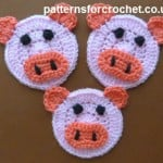 Piglet Applique ~ Patterns For Crochet