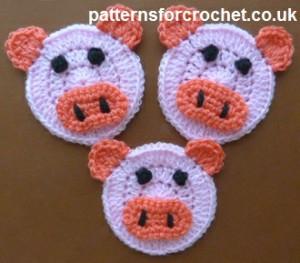Piglet Applique ~ Patterns For Crochet
