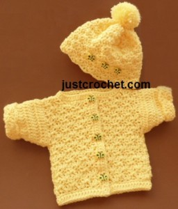 Preemie Cardi with Bobble Hat ~ JustCrochet