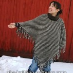 Two-Color Poncho with Crochet Fringe ~ ABC Knitting Patterns