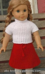 American Girl Doll Real Easy V-Stitch Skirt ~ ABC Knitting Patterns