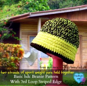 Basic Hdc Beanie With 3rd Loop Striped Edge ~ Erangi Udeshika - Crochet For You