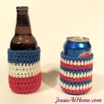 FREE crochet pattern for a Striped Can Cozy by Jessie At Home.