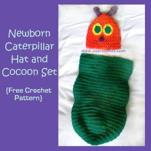 Newborn Caterpillar Hat and Cocoon Set ~ Oui Crochet