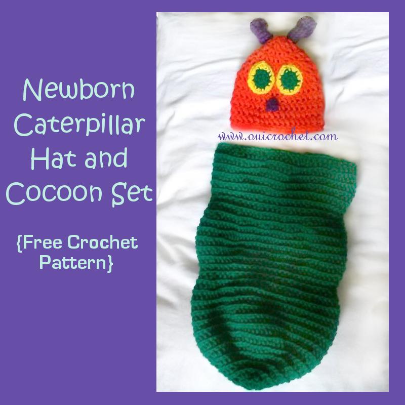 Crochet Caterpillar Baby Outfit Pattern : Newborn Caterpillar Hat and Cocoon Set ~ FREE Crochet Pattern