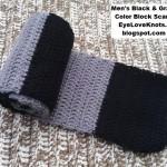 Men's Black and Gray Color Block Scarf ~ Alexandra Richards – EyeLoveKnots