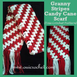Granny Stripes Candy Cane Scarf ~ Oui Crochet