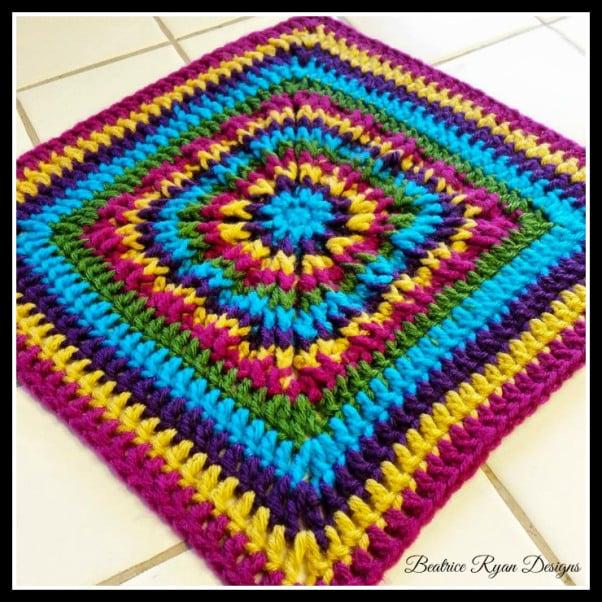 Rainbow Burst Reversible Crochet Granny Square ~ FREE Crochet Pattern