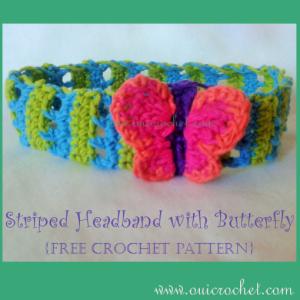 Striped Headband with Butterfly ~ Oui Crochet