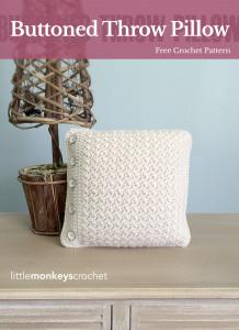 Buttoned Throw Pillow ~ Rebecca Langford - Little Monkeys Crochet