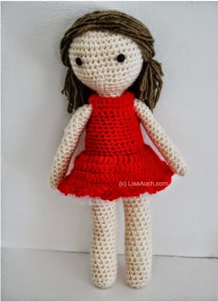 Amigurumi Doll Skirt : Little Crochet Red Dress ~ FREE Crochet Pattern