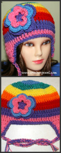Rainbow Ear Flap Hat (All Sizes) ~ Amy - Crochet Jewel
