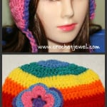 Rainbow Ear Flap Hat (All Sizes) ~ Amy - Crochet Jewel