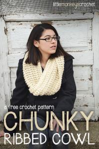 Chunky Ribbed Cowl ~ Rebecca Langford - Little Monkeys Crochet