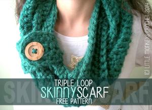 Triple Loop Skinny Scarf ~ Rebecca Langford - Little Monkeys Crochet