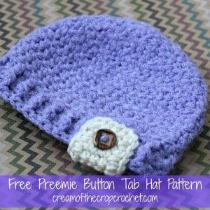 Preemie Button Tab Hat ~ Cream Of The Crop Crochet
