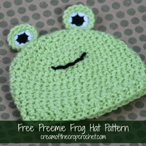 Preemie Frog Hat ~ Cream Of The Crop Crochet