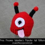 Preemie Valentine's Monster Hat ~ Cream Of the Crop Crochet