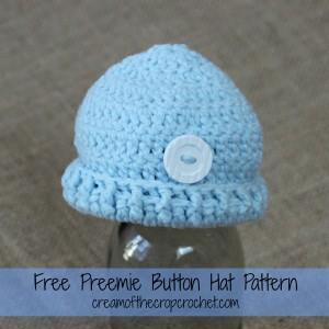 Preemie Button Hat ~ Cream Of The Crop Crochet