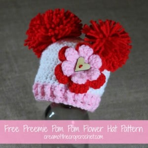Preemie Pom Pom Flower Hat ~ Cream Of The Crop Crochet