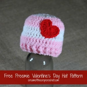 Preemie Valentine's Day Hat ~ Cream Of The Crop Crochet