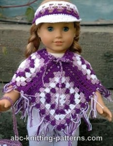 American Girl Doll Granny Square Poncho ~ ABC Knitting Patterns