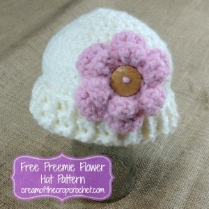 Preemie Flower Hat ~ Cream Of The Crop Crochet