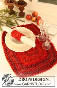 Table Mat and Serviette Ring ~ DROPS Design