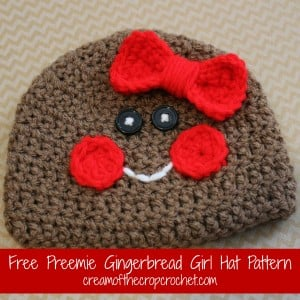 Preemie Gingerbread Girl Hat ~ Cream Of The Crop Crochet