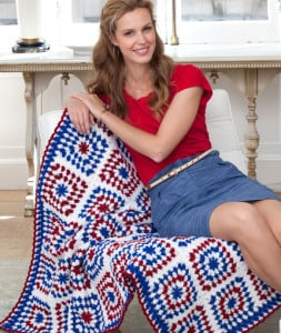 Colors of America Throw ~ Martha Brooks Stein - Red Heart