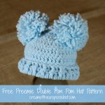 Preemie Double Pom Pom Hat ~ Cream Of The Crop Crochet