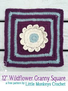 "12"" Wildflower Granny Square No. 1 ~ Rebecca Langford - Little Monkeys Crochet"