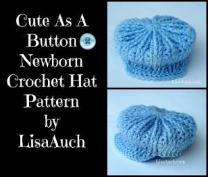 Cute as a Button Newborn Crochet Hat for Baby Boys ~ Free Crochet Patterns and Designs by LisaAuch