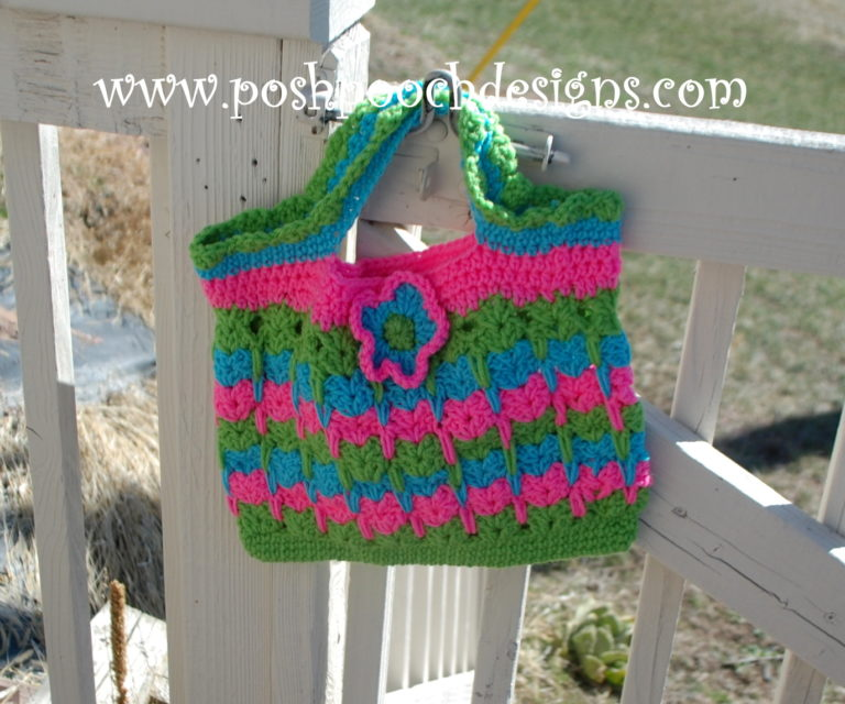 Kitties In A Row Tote Bag ~ FREE Crochet Pattern