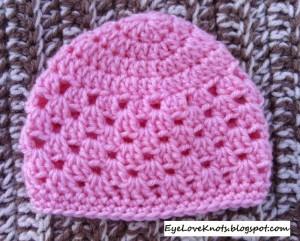 Crochet Newborn Granny Square Beanie ~ Alexandra Richards - EyeLoveKnots