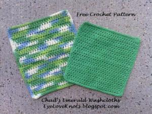 Chad's Emerald Washcloths in 2 Sizes ~ EyeLoveKnots