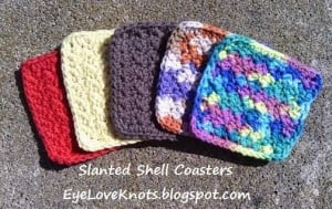 Slanted Shell Coasters ~ Alexandra Richards - EyeLoveKnots
