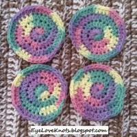 Coasters in Rainbow Bright Ombre ~ EyeLoveKnots