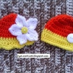 Preemie Fall Yellow and Orange Embellished Twin Hats ~ Alexandra Richards - EyeLoveKnots