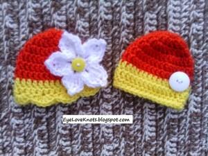 Preemie Fall Yellow and Orange Embellished Twin Hats ~ Alexandra Richards - EyeLoveKnots