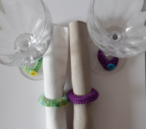 """Girls' Night In Napkin Rings and Wine Glass """"Charms"""" ~ Marie Segares - Underground Crafter"""