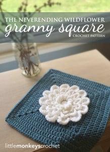 """The Never Ending Wildflower 12"""" Granny Square ~ Rebecca Langford - Little Monkeys Crochet"""