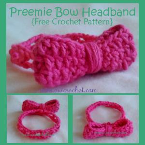 Preemie Bow Headband ~ Oui Crochet