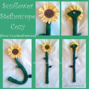 Sunflower Stethoscope Cozy ~ Oui Crochet