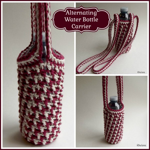 Alternating Water Bottle Carrier Free Crochet Pattern