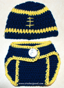 Crochet Baby 0- 3 Months Football Hat and Diaper Cover ~ Amy - Crochet Jewel