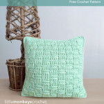 "12"" Basketweave Throw Pillow ~ Rebecca Langford - Little Monkeys Crochet"